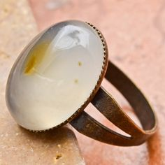 Natural Grey Agate Gemstone And Copper Ring