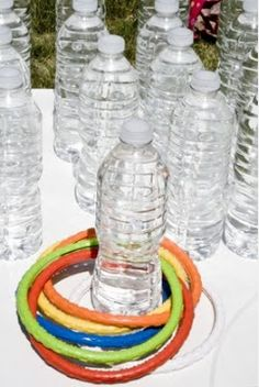 Eco-friendly ring-toss with recycled water bottles