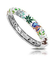 Rainforest Canopy White Bangle by Belle Etoile. Sterling Silver. Fashion Jewelry. Italian Enamel.