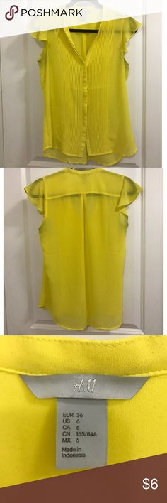 Semi-sheer yellow chiffon H&M blouse Semi-sheer v-neck yellow blouse from H&M. Lightly worn, no visible signs of wear. Size 6, but runs more like a 4. Pleated from gives more coverage but back is sheer. Cap sleeves and 6 buttons up the front. H&M Tops Blouses