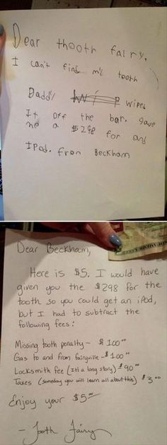 Dear Tooth Fairy.....