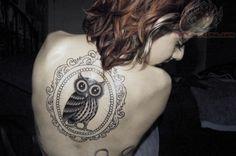 Owl in Mirror Tattoo On Girl Back