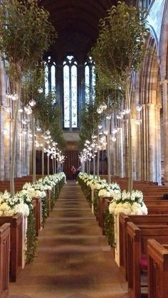 Dunblane Cathedral, Scotland, decorated for tennis star Andy Murray& wedding. Church Wedding Decorations, Ceremony Decorations, Wedding Church, Wedding Centerpieces, Andy Murray, Church Aisle, Wedding Ceremony Seating, Medieval Wedding, Gothic Wedding