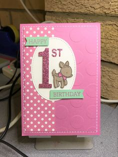 Stampin Up Number of Years Framelits, Happy 1st Birthday for a Girl