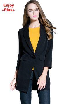 0e12b405ffe ENJOY PLUS 7%OFF chest 89-119cm autumn winter 2016 black long blazer women  big size and jacket with pocket brand lady M- 5XL - free shipping worldwide