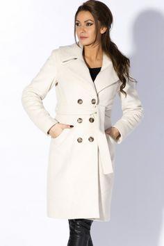 f561c5924e3d Rylko - Manteau classique à grand col en feutre de laine épaisse avec  ceinture. LaRose.ma · Manteau Femme