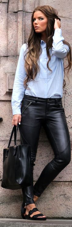 ✿~LEATHER GIRLS `✿⊱╮  *Ellos Collection Black Women's Leather Pants by Frida Grahn