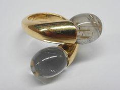 baccarat 18k rock crystal + rutilated quartz ring