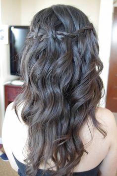 Wavy hair with small waterfall braid. pretty for BM or MOH Bridesmaid Inspiration, Hair Inspiration, Braided Hairstyles, Wedding Hairstyles, Bridesmaid Hair, Gorgeous Hair, Hair Designs, Wavy Hair, Spring Wedding
