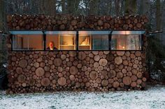 """Amazing """"camouflage"""" log house. A place to spark creativity and record music"""