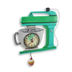 Things2die4 Allen Designs Green Vintage Kitchen Mixer Wall Clock with Cupcake Pendulum from Sears