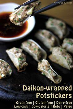 Daikon-wrapped Potstickers Japanese gyoza Paleo | Keto Gluten-free | Wheat-free | Dairy-free | Grain-free 365 calories and 4.56g net carbs per 12 dumplings