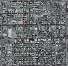 Aerial photo of Savannah with original squares highlighted.