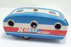 VINTAGE TIN TOY HOUSE TRAILER WITH WORKING DOORS AND AWNING AIR STREAM STYLE | eBay
