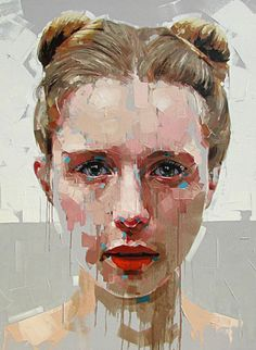 """""""Journey"""" - Jimmy Law (South African, b. 1970), acrylic on canvas, 2015 {figurative #expressionist art beautiful female head grunge woman face portrait painting drips #loveart} jimmylaw.co.za"""