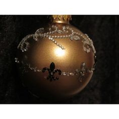 Handcrafted Fleur de Lis w/Crystal and Pearls Gold Glass Ball Ornament Handcrafted Christmas Ornaments, Handmade Christmas, Christmas Diy, Christmas Bulbs, Fabric Ornaments, Ball Ornaments, Gold Glass, Glass Ball, Pearls