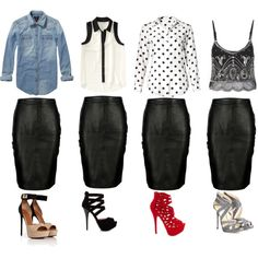 """How to wear a lambskin pencil skirt"" by couturereign"