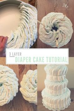Step-by-step how-to tutorial for making a 3 layer diaper cake! You can decorate however you want but we will be uploading tons of cool ideas. It's an awesome DIY baby shower gift! #babyshower #babyboy #babygirl #pregnancy #maternity #babyshowerideas #diapercakes #diapercakeideas