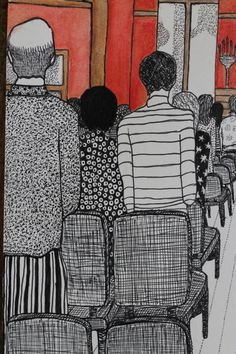 """Sunday Morning at St. Andrews"" by L.K. Sukany. Detail: back of people and bald man in church service. Pen and Ink drawing using Inktense Pencil Carmine Pink and Tangerine blended."