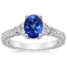 Sapphire Adorned Trio Diamond Ring in 18K White Gold, 8x6mm Oval Blue Sapphire