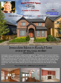 Real Estate for sale at $295,000! Four Bedroom, two and a half Bath, 2106 square foot gorgeous two story Glen at Fishers landing move-in-ready home on .06 acre lot located at 19738 SE 38th Way, Camas, Washington 98607 in Clark County area 32 which is the Camas city limits area. The RMLS number is 15125170. It does not have a fireplace nor is it considered to be a view home. It was built in 2005 and the local high school is Skyridge High. The annual taxes due are $3,293.26. It is not a short…