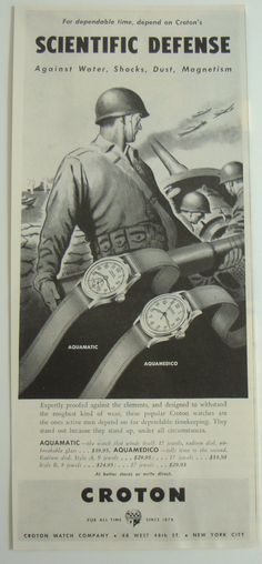 vintage hamilton watch ad militaRY | ... CROTON WATCH AD AQUAMEDICO AQUAMATIC BIG GUNS USA WWII SOLDIER WAR AD