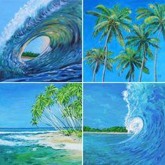 SURFER-DEKO 4 Kunstdrucke auf Leinwand, Tropen, Strand, Palmen, Dekoration