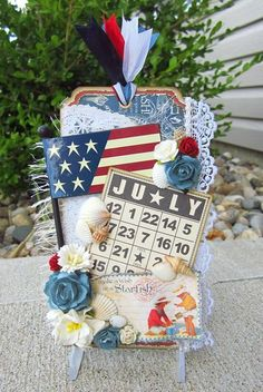 A great 'By the Sea' July tag by Misty Busby Graphic 45, Atc Cards, Card Tags, Fourth Of July, Art Trading Cards, Paper Tags, Vintage Tags, Scrapbook Paper Crafts