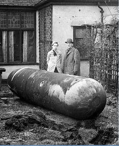 An unexploded German parachute mine in a Liverpool garden, 1940
