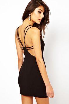 Sexy Racerback BodyCon LBD! Black Back Hollow-out Sleeveless Bodycon Club Dress
