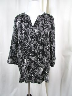 Anthropologie Maeve Birds Pintucked Tunic Blouse Size 12 Black White Mint #Anthropologie #Tunic #Casual