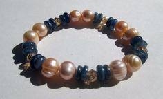 """Natural Freshwater Pearl Kyanite Crystal Stretchy Healing Bracelet  8-10mm 7"""" #Handmade #Beaded"""