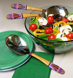 3-Piece Serving Set - Textured Gold Handles, Gold and Purple Handles, Multi-Use Servers, Polymer Clay Decorated Utensil