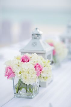 Floral decoration on dinner table