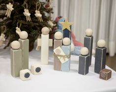 """Wood Nativity Set    ~ 1 1/2"""" Ball Knob for head - purchased seconds from Casey's Wood Products online (they were $.125 each = 12.5 cents!) http://www.caseyswood.com/    ~The wood bodies are from Home Depot (Lowes carries it too) It's a 2x2 - 8 ft piece for $ 1.53 - If you work out your measurements ahead of time, they will cut the pieces for you for free"""