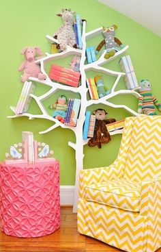 Love this book nook and especially the Tree Bookcase by Nurseryworks.  Everything in this picture can be purchased at Rosenberry Rooms.