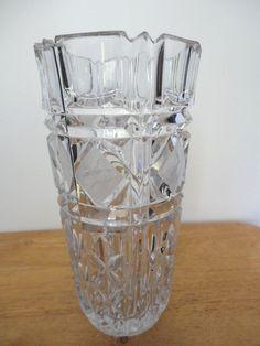 Vintage West Germany Crystal Vase, Hand Cut, 24% Lead-Diamond Etched Cuts #GermanyCrystal