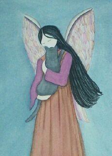 Grey+cat+cradled+by+angel+/+Lynch+signed+folk+by+watercolorqueen,+$13.26
