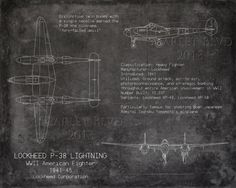Lockheed P38 Lightning WWII airplane blueprint art by ScarletBlvd