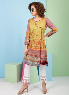 Pakistani Fashion Casual, Pakistani Dresses Casual, Casual Dresses, Fashion Dresses, High Collar Blouse, Dress Neck Designs, Frock Design, Embroidery Suits, Dresses Kids Girl