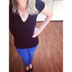 Thrifted cobalt blue skinny jeans // target tee // sparkly black flats // spring fashion // via keepinitthrifty on Instagram