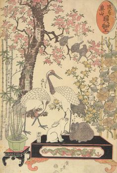 Utagawa Hiroshige: Cranes and Rabbits, from the series Shell Crafts at the Temple in Asakusa - University of Wisconsin-Madison