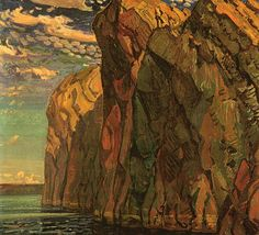 "Arthur Lismer - Canadian / English born / Group of Seven - ""The Big Rock, Bon Echo"", oil on canvas, 36 x National Gallery of Canada. Tom Thomson, Group Of Seven Artists, Group Of Seven Paintings, Emily Carr, Canadian Painters, Canadian Artists, Abstract Landscape, Landscape Paintings, Ontario"
