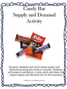 Strategy GSE: 2 Description: Candy Bar Supply and Demand Activity where students can sell candy bars. Students will discover many aspects of money, trade, opportunity cost, marketing, etc. 3rd Grade Social Studies, Social Studies Activities, Teaching Social Studies, Teaching History, Hands On Activities, Classroom Activities, Teaching Resources, School Resources, Teaching Ideas