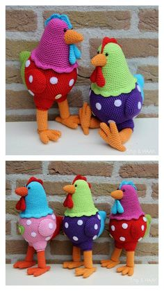 Crochet Toy Patterns Crochet Rooster Amigurumi Pattern - 2017 is the Year of the Rooster. We've compiled a few Rooster Crochet Amigurumi Patterns for you to have some yarn hooking fun with roosters. Crochet Birds, Easter Crochet, Knit Or Crochet, Cute Crochet, Crochet Animals, Crochet Crafts, Crochet Projects, Crochet Patterns Amigurumi, Crochet Dolls