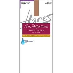 e6acd5adc38 Hanes Silk Reflections Silky Sheer No-Slip Band Knee Highs with Run  Resistant Technology Pack