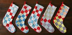 these are officially my next stockings! Mom and I wanted to try this but were afraid we'd butcher it and have nothing to show of my mamaw's beautiful old quilts