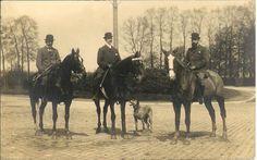 Elegant men w BOWLER HATS riding horses GREAT DANE dog RPPC real photo postcard