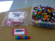 Math Stations: Pattern making with unifix cubes.There are some fantastic math stations here, even for kindergarden
