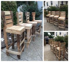 I made these stools for an outdoor patio at a local garden nursery. I wanted a rustic look so pallet wood was the way to go! The stools were lightly spot sanded to bring the beautiful natural wood grain from underneath the aged wood. I used deck screws and galvanized brads to minimize future rust. I also used waterproof glue on all the pieces. Most of the original nail heads and some full nails from the pallets were incorporated in the rustic design.